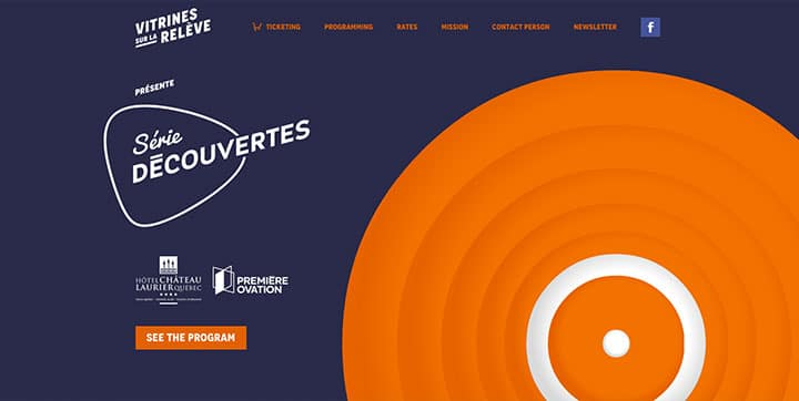 Vitrines sur la relève  an example of using orange color scheme website color schemes - Vitrines sur la releve orange website color - Using the Psychology of Colors to Create Proper Website Color Schemes