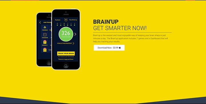 Brain'up website, An example of yellow website color schemes website color schemes Using the Psychology of Colors to Create Proper Website Color Schemes brainup yellow color