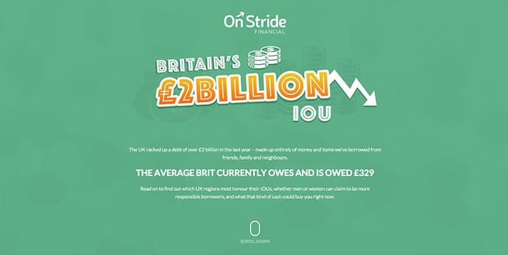 Britain's £2Billion IOU green website color scheme example website color schemes Using the Psychology of Colors to Create Proper Website Color Schemes onstride green color website