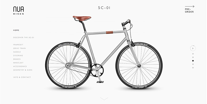 NUA Bikes Innovative scrolling web design trends